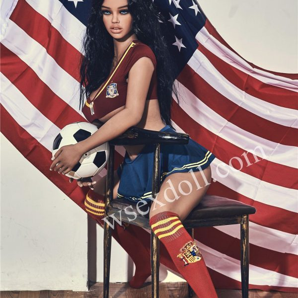 Full Body Big Breasted Tpe Sex Doll With American Flag Holding A Football