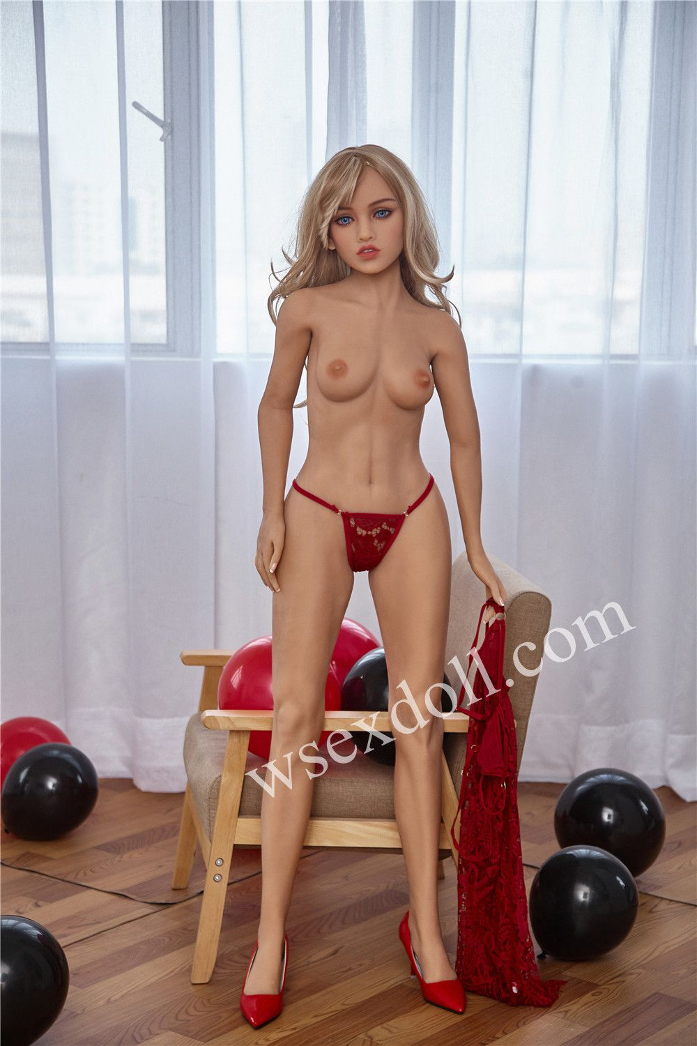 Blonde Long Hair Sexy Lace Suspender Dress Tpe Sex Doll