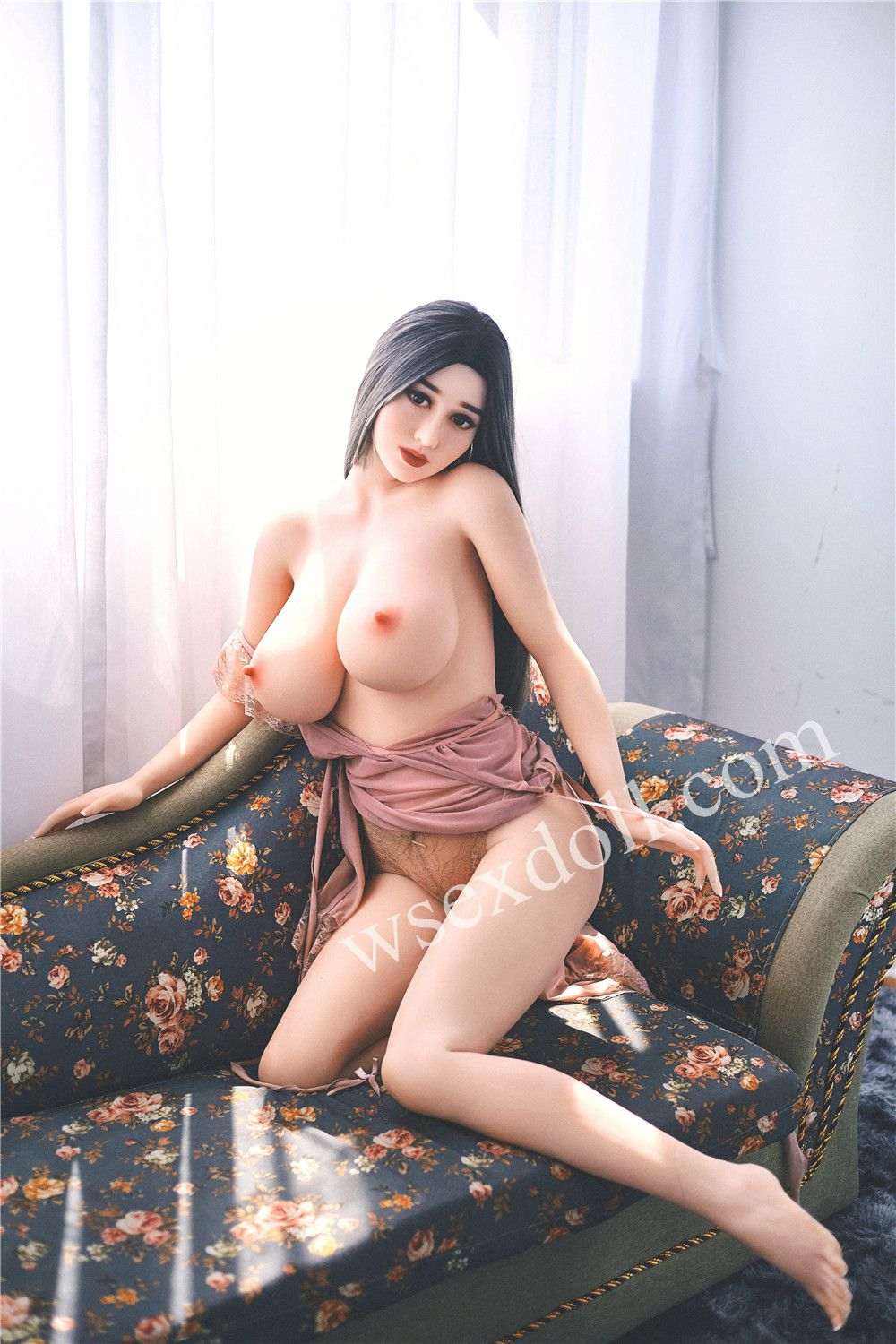 Full-body Realistic Tpe Sex Doll In Pink Transparent Home Clothes With Big Breasts
