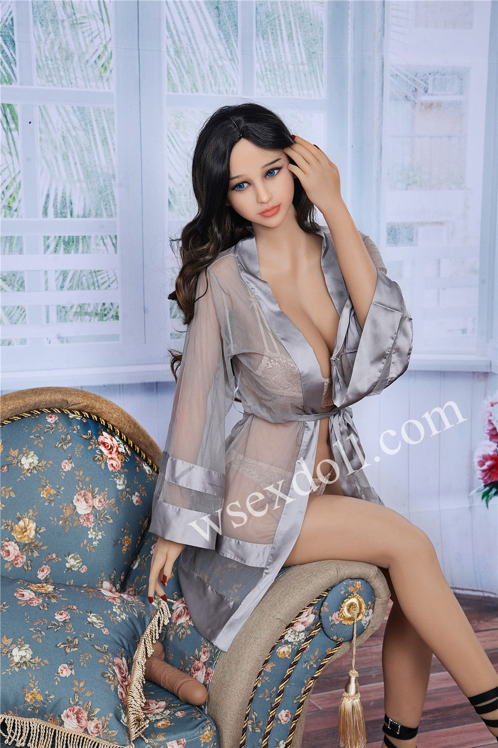 Full-body Busty Black-haired Tpe Sex Doll In Sheer Home Clothes